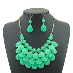 Candy Color Multilayered Beaded Necklace and Earrings For Women -