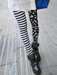 Stripe Star Print Slimming High Elasticity Women's Leggings - BLACK