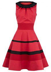 Vintage Round Collar Ruffled Stripe Flouncing Sleeveless Women's Dress - AS THE PICTURE