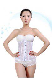 Charming White Lace Jacquard Front Button Corset For Women -