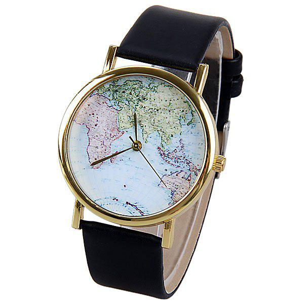 Store Map Pattern Quartz Watch with Analog Indicate Leather Watchband for Women