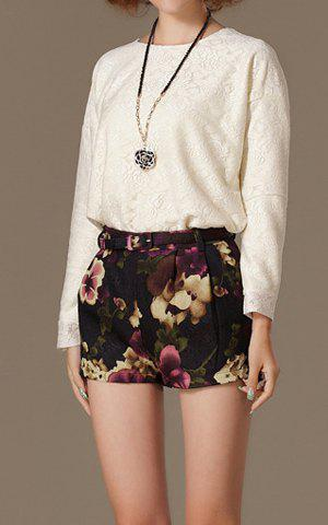 Shops Vintage Round Collar Floral Pattern Solid Color Long Sleeves Women's Blouse