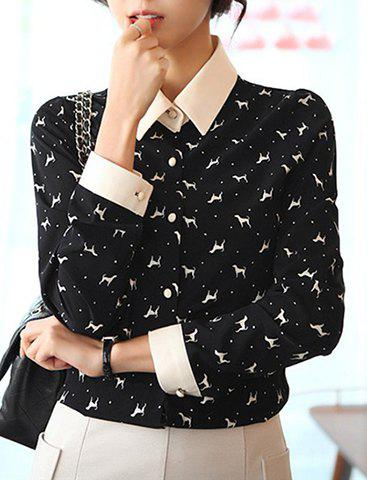 Cheap Turn-Down Collar Cartoon Animal Single-Breasted Long Sleeves Fashion Women's Blouse