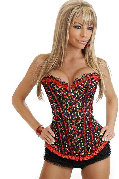 Sexy Cherry Print Lace Hem Corset For Women фото