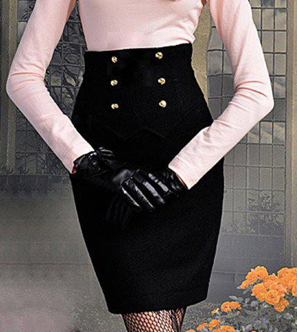 Shop Vintage Six Buttons Wave Cut Zipper Back Black Worsted Women's Wrapped Skirt