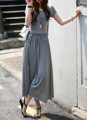 Shops Simple All-Match Scoop Collar Drawstring Waist Ruched Short Sleeves Women's Pleated Dress