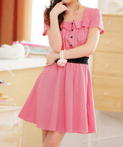 Best Ladylike Square Neck Buttons Decoration Short Sleeves Women's Checked Dress