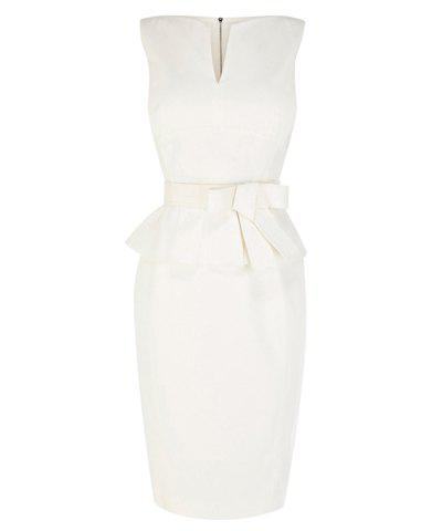 Chic Charming V-Neck Flounce Bow Tie Embellished Back Zipper Sleeveless Bodycon Dress For Women