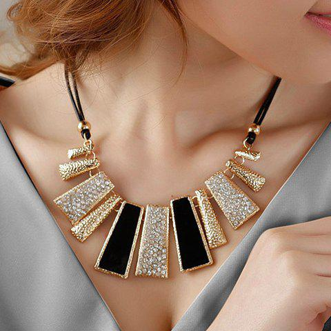 Diamante Geometric Pendant Hollow NecklaceJEWELRY<br><br>Color: BLACK; Item Type: Pendant Necklace; Gender: For Women; Necklace Type: Leather Chain; Metal Type: Alloy; Style: Trendy; Shape/Pattern: Geometric; Length: 46CM; Weight: 0.084kg; Package Contents: 1 x Necklace;