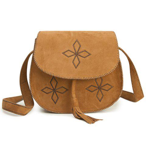 Shop Retro Tassels and Bordered Design Women's Crossbody Bag