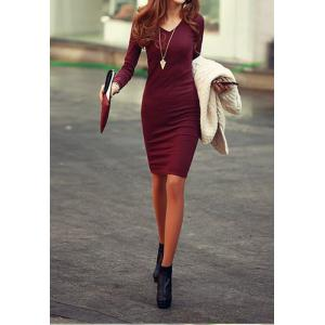 Solid Color Long Sleeve Simple Style V-Neck Cotton Packet Buttock Women's Dress - Wine Red - One Size