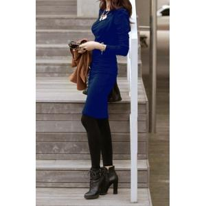Solid Color Elegant Style Packet Buttock Long Sleeve Pleated Women's Dress - Blue - One Size