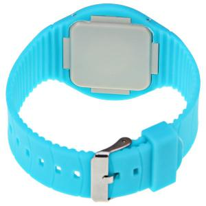 Rubber Band Touch-screen Sport Watches with Red Display Time Round Dial - AZURE