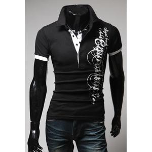 Slimming Trendy Turndown Collar Letter Print Short Sleeve Polyester Polo Shirt For Men