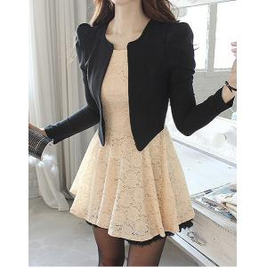 Ladylike Style Long Sleeve Round Collar Lace Zipper Women's Faux Twinset - As The Picture - One Size