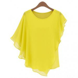 Ladylike Style Round Collar Butterfly Sleeve Solid Color Chiffon Women's Blouse