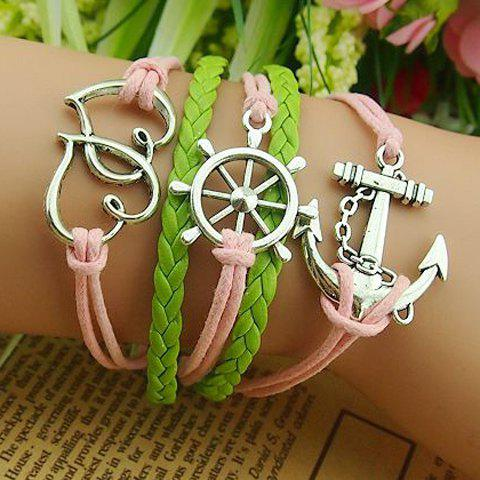 Cheap Heart Rudder Anchor Multilayered Bracelet AS THE PICTURE