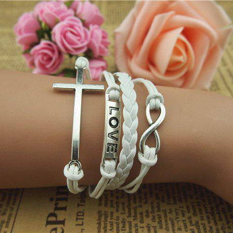 Buy online Vintage Cross and Eight Embellished White Knitted Multilayered Charm Bracelet For Women