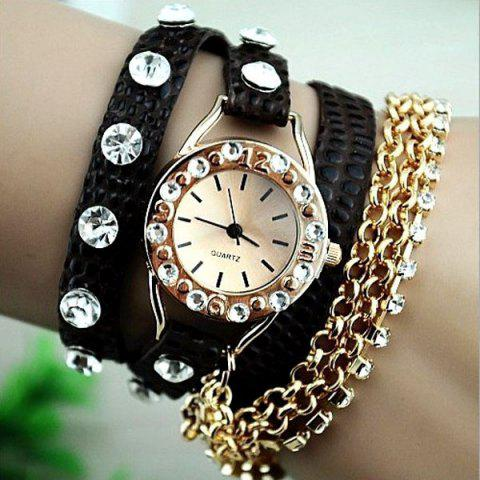 Trendy Quartz Bracelet Watch for Women with Diamonds Design Leather and Stainless Steel Watchband