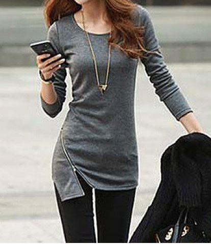 Shop Simple Style Solid Color Zipper Embellished Cotton Slimming Long Sleeve Women's T-shirt