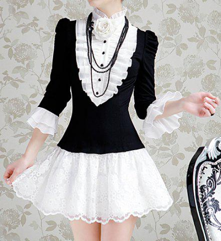 Online Vintage Stand Collar Color Matching Ruched 3/4 Sleeves Women's Dress