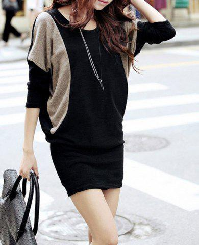 Color Block Long Sleeve Slimming Packet Buttock Knitted Women's Dress