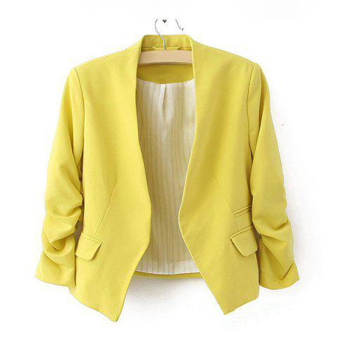 New Modern OL Style Collarless Three Quarter Sleeves Solid Color Blended Women's Blazer