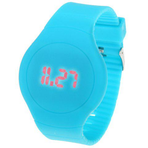 Chic Rubber Band Touch-screen Sport Watches with Red Display Time Round Dial