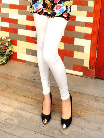 Buy Fashionable Elastic Waist Solid Color Faux Leather Skinny Leggings Women