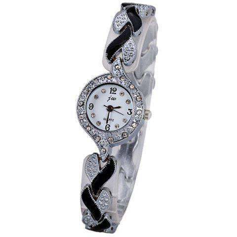 New Trendy Decorative Diamonds Quartz Watch for Women with Round Dial and Heart-shaped Design Watchband