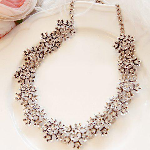 Latest Alloy Diamante Flower Necklace AS THE PICTURE