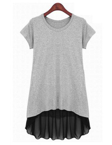 Chic Simple Style Short Sleeves Scoop Neck Chiffon Splicing Ruffle Color Block Women's Dress