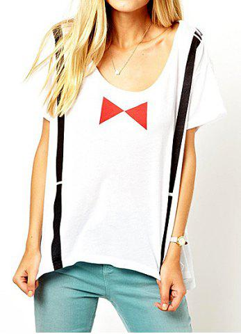 Shops Casual Style Round Collar Short Sleeve Braces Bow-Tie Print Women's T-shirt