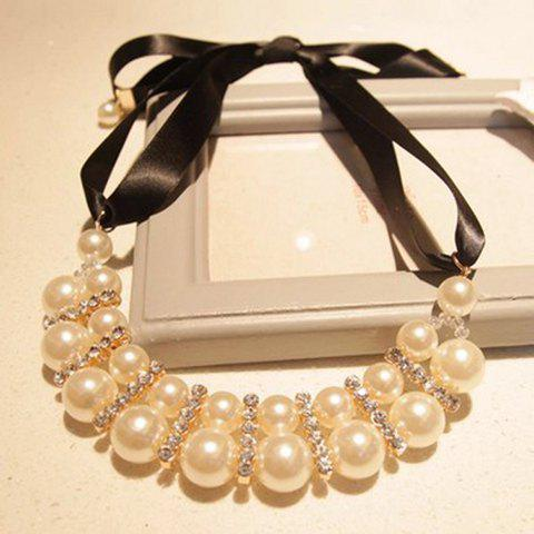 Cheap Fashion Two Row Faux Pearl Pendant Ribbon Necklace For Women