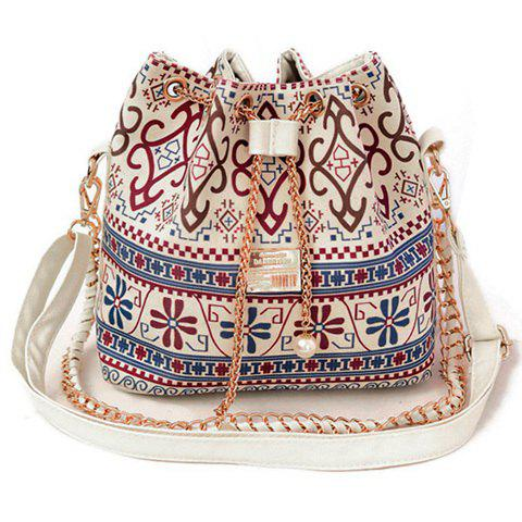 Latest Bohemian Chains Print Bucket Shoulder Bag - WHITE  Mobile