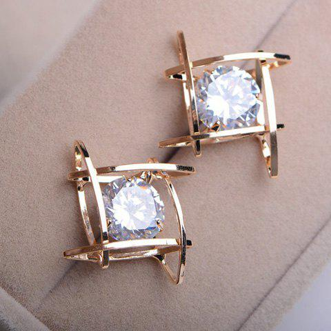 Chic Pair of Faux Gemstone Hollow Out Earrings AS THE PICTURE
