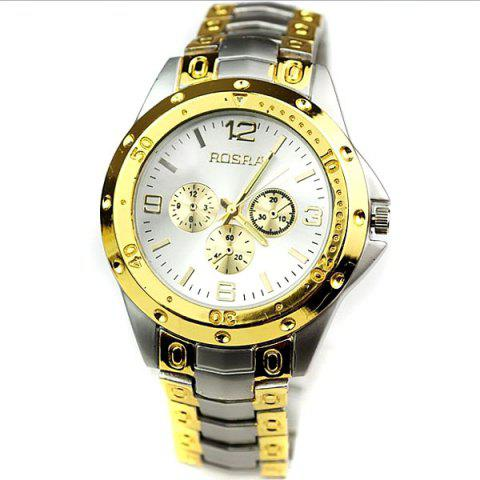 Sale Quartz Men's Watch with 4 Arabic Numbers 8 Rectangle Indicate Steel Watchband and Luminous Pointer