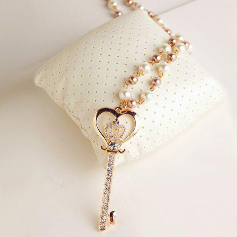 Chic Diamante Crown Embellished Key Pendant Sweater Chain Necklace For Women - As The Picture