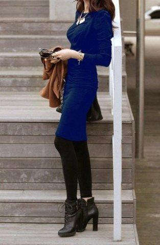 Online Solid Color Elegant Style Packet Buttock Long Sleeve Pleated Women's Dress BLUE ONE SIZE