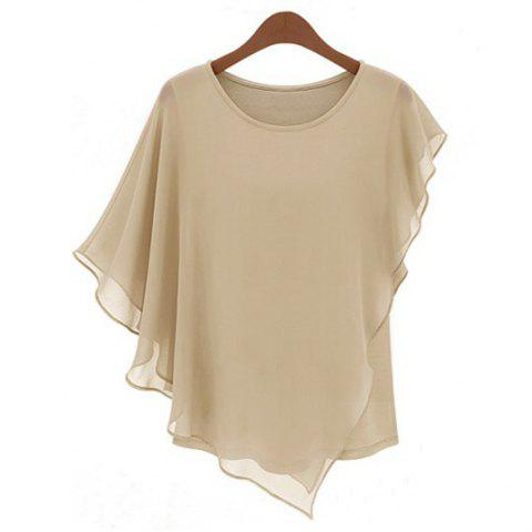 Ladylike Style Round Collar Butterfly Sleeve Solid Color Chiffon Women's Blouse - Apricot - S
