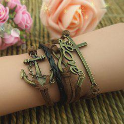 Cross Anchor Love Multilayered Bracelet - AS THE PICTURE