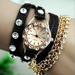 Quartz Bracelet Watch for Women with Diamonds Design Leather and Stainless Steel Watchband -