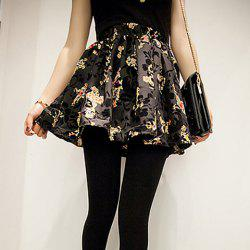 Vintage Ruffled Floral and Cross Print Women's Skirt -