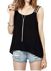 Sexy Gallus Back Slotting Double Button Chiffon Women's Blouse -