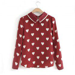 Stylish Turn-Down Collar Heart Embellished Long Sleeves Women's Blouse -