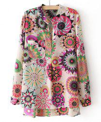Vintage V-neck Colorful Floral Print Loose Fit Long Sleeves Women's Blouse -