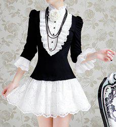 Vintage Stand Collar Color Matching Ruched 3/4 Sleeves Women's Dress -