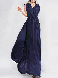 Sleeveless Pleated Long Formal Prom Dress -