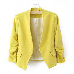 Modern OL Style Collarless Three Quarter Sleeves Solid Color Blended Women's Blazer -