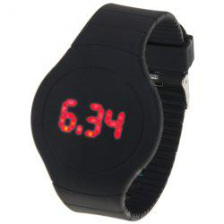 Rubber Band Touch-screen Sport Watches with Red Display Time Round Dial -